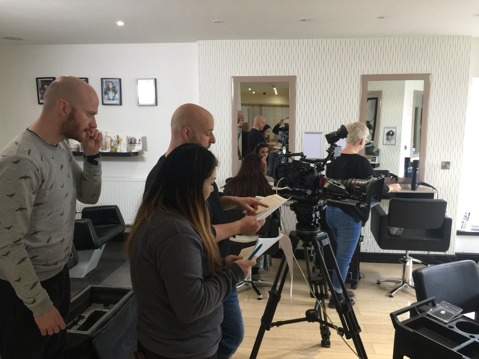 Channel 4 on location in the salon random acts