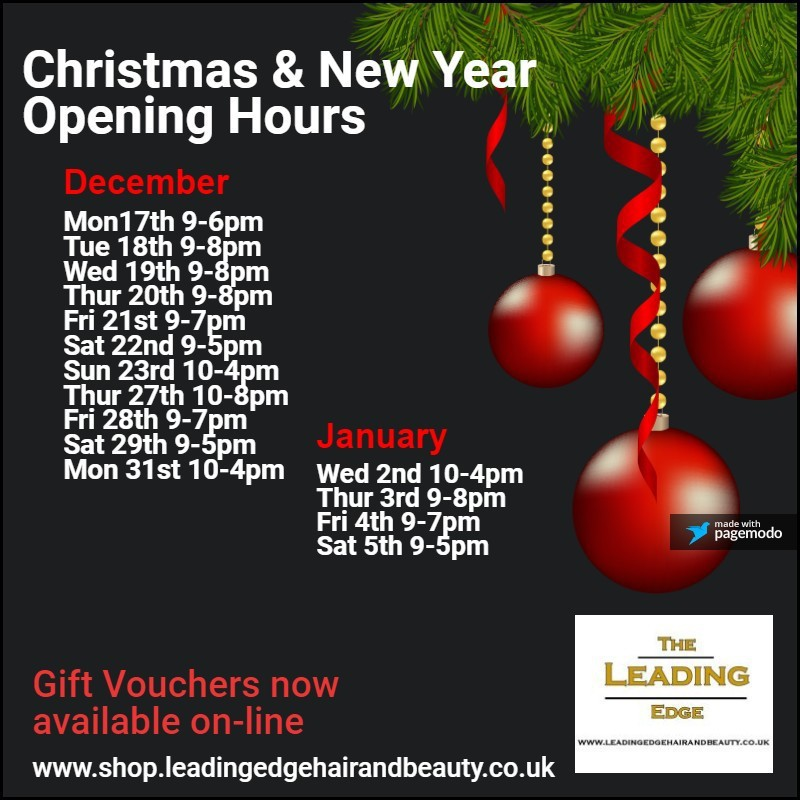 Hyde Salon Christmas Opening Hours 2018