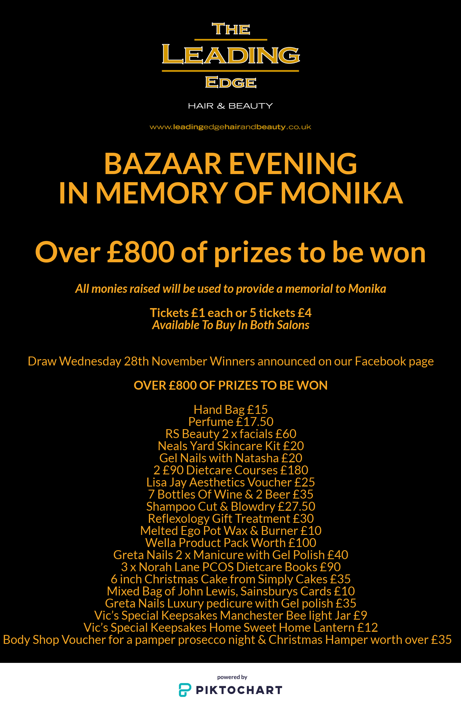 Bazaar Evening In Memory Of Monika Wednesday 28th November 6pm - 8.30pm